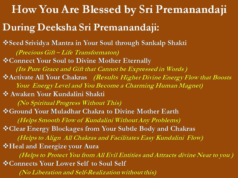 srividya deeksha blessings of Sri Premanandaji